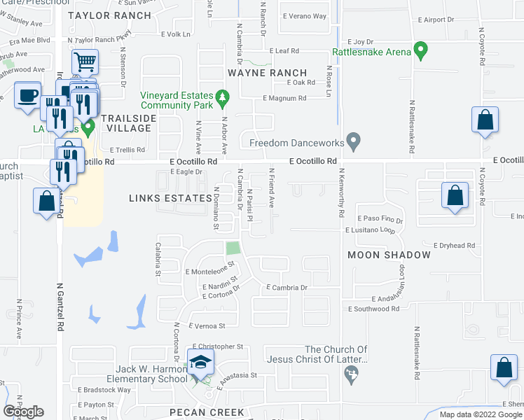 map of restaurants, bars, coffee shops, grocery stores, and more near 1279 East Catino Court in San Tan Valley