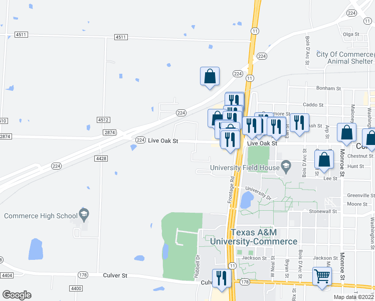 map of restaurants, bars, coffee shops, grocery stores, and more near 2401 Westgate Drive in Commerce