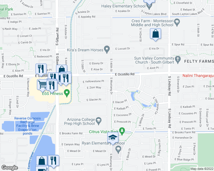 map of restaurants, bars, coffee shops, grocery stores, and more near 3492 East Zion Way in Chandler