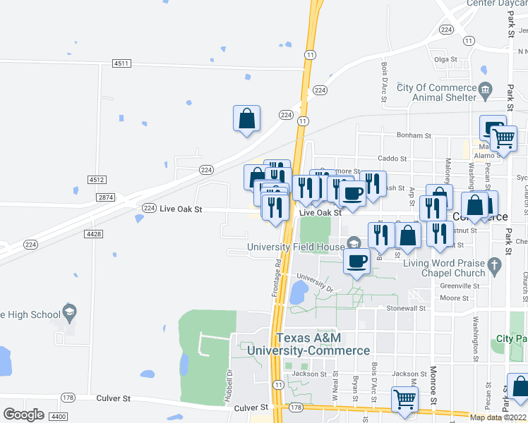 map of restaurants, bars, coffee shops, grocery stores, and more near 2224 Live Oak Street in Commerce