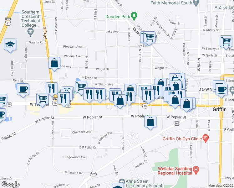 map of restaurants, bars, coffee shops, grocery stores, and more near 923-927 West Solomon Street in Griffin