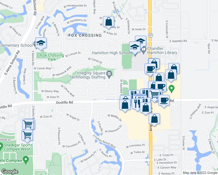 map of restaurants, bars, coffee shops, grocery stores, and more near 3937 South Illinois Street in Chandler