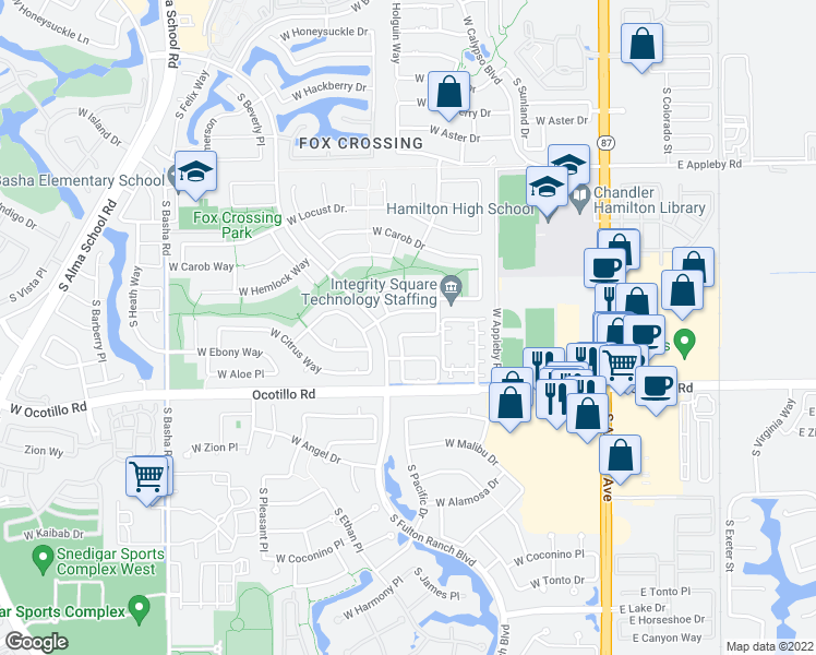 map of restaurants, bars, coffee shops, grocery stores, and more near 514 West Redwood Drive in Chandler