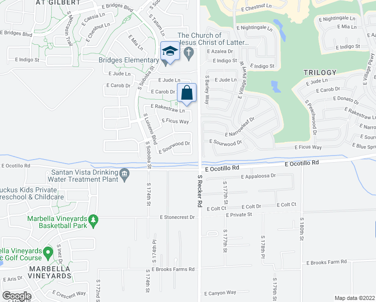 map of restaurants, bars, coffee shops, grocery stores, and more near 3954 East Blue Spruce Lane in Gilbert