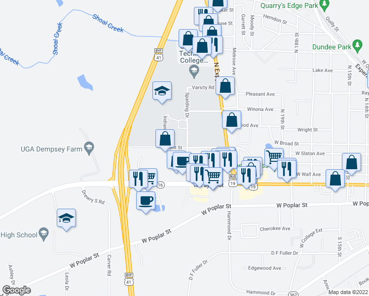 map of restaurants, bars, coffee shops, grocery stores, and more near 205 Spalding Drive in Griffin