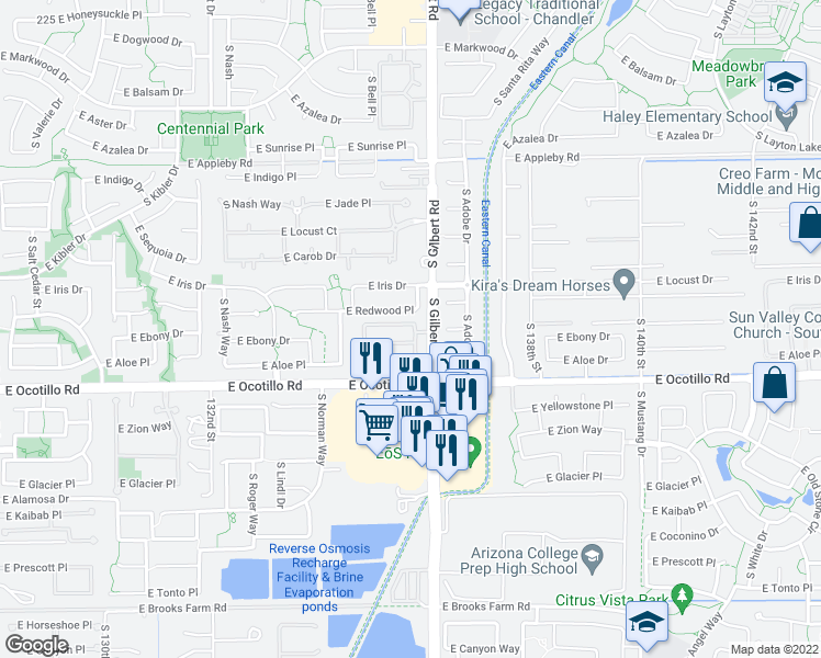 map of restaurants, bars, coffee shops, grocery stores, and more near 2931 Citrus Way in Chandler