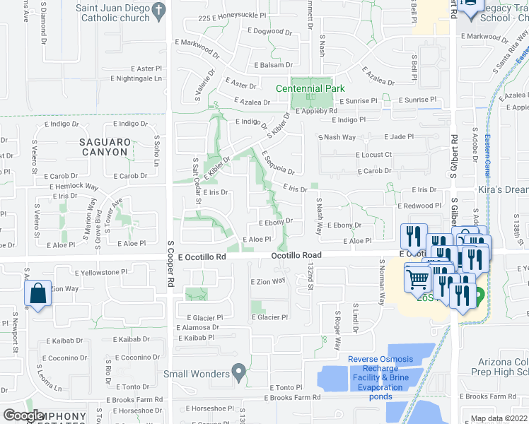 map of restaurants, bars, coffee shops, grocery stores, and more near 2307 East Redwood Court in Chandler