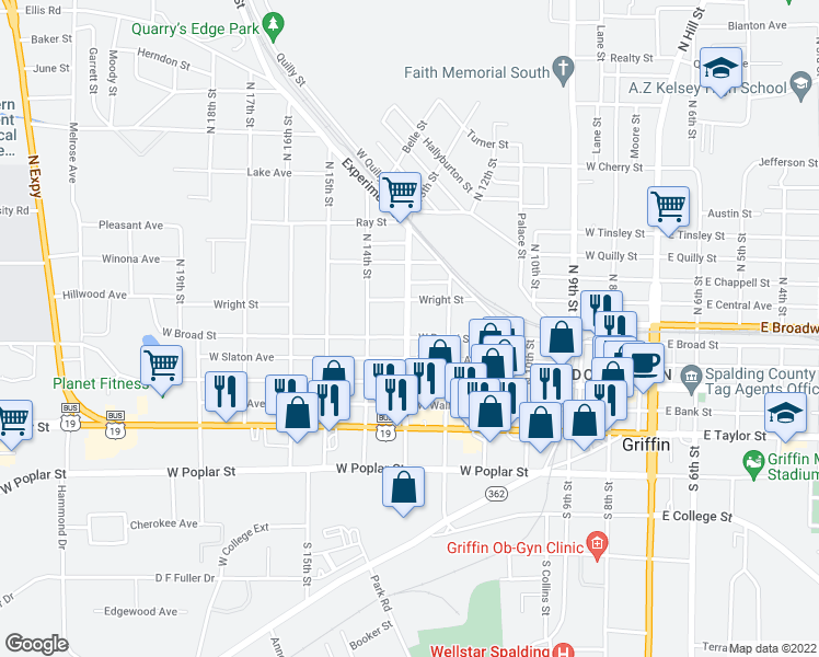 map of restaurants, bars, coffee shops, grocery stores, and more near 206 13th in Griffin