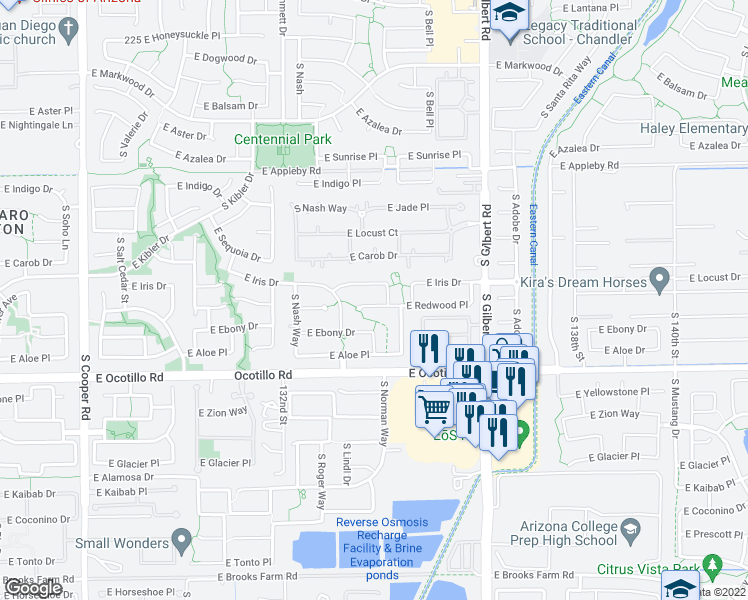 map of restaurants, bars, coffee shops, grocery stores, and more near 2702 East Redwood Place in Chandler