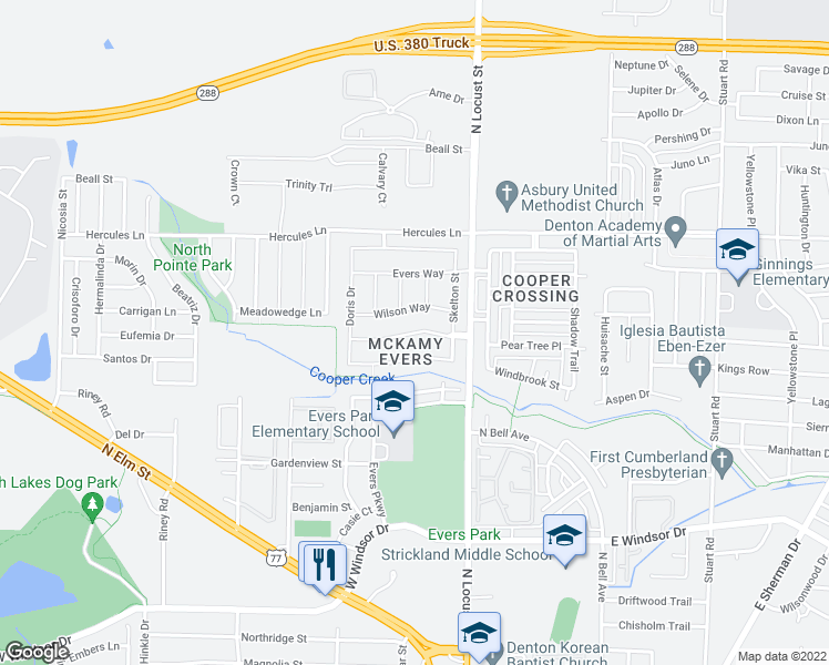 map of restaurants, bars, coffee shops, grocery stores, and more near McKamy Boulevard in Denton