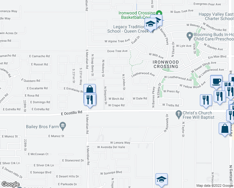map of restaurants, bars, coffee shops, grocery stores, and more near 1445 West Alder Road in San Tan Valley