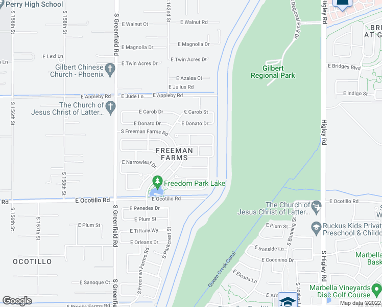 map of restaurants, bars, coffee shops, grocery stores, and more near 2696 East Lodgepole Drive in Gilbert