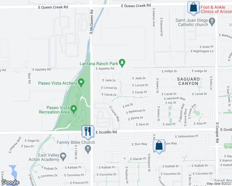 map of restaurants, bars, coffee shops, grocery stores, and more near 1176 East Carob Drive in Chandler