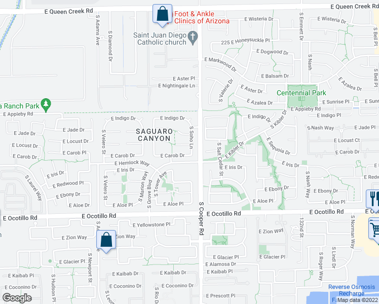 map of restaurants, bars, coffee shops, grocery stores, and more near 1906 East Carob Drive in Chandler