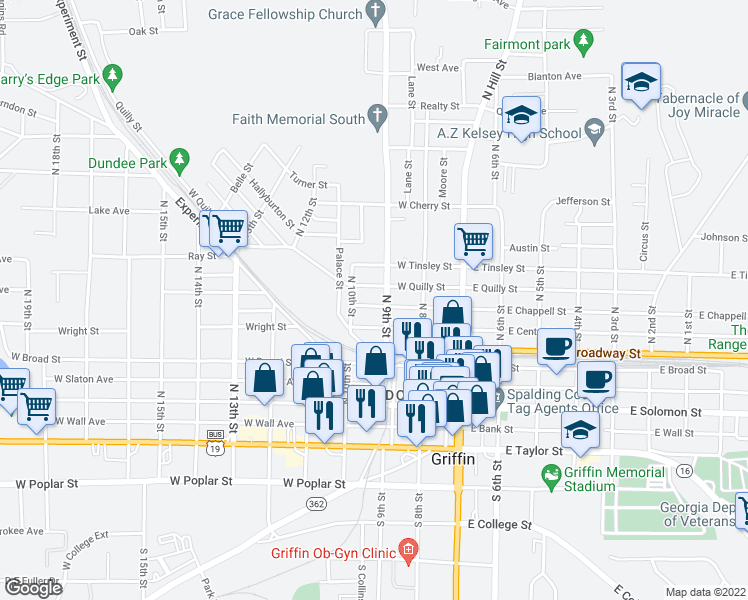 map of restaurants, bars, coffee shops, grocery stores, and more near 311 West Chappell Street in Griffin