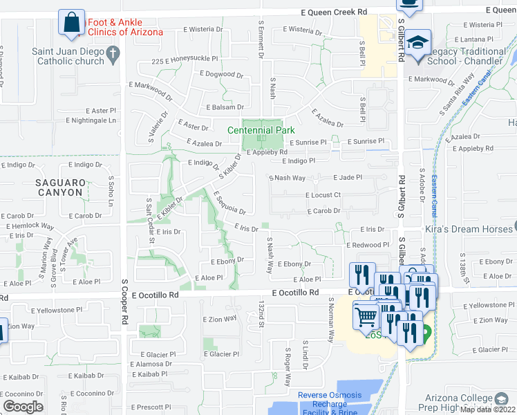 map of restaurants, bars, coffee shops, grocery stores, and more near 3705 South Danielson Way in Chandler