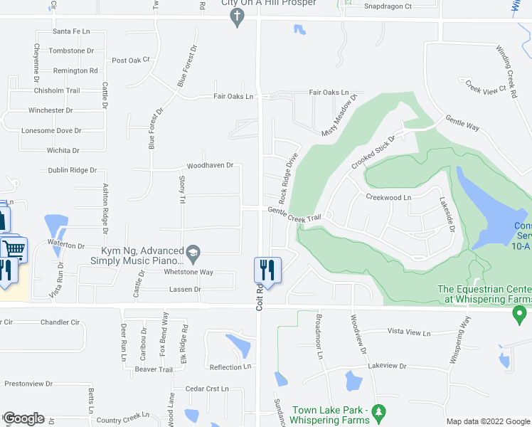 map of restaurants, bars, coffee shops, grocery stores, and more near 1121 Crystal Falls Drive in Prosper