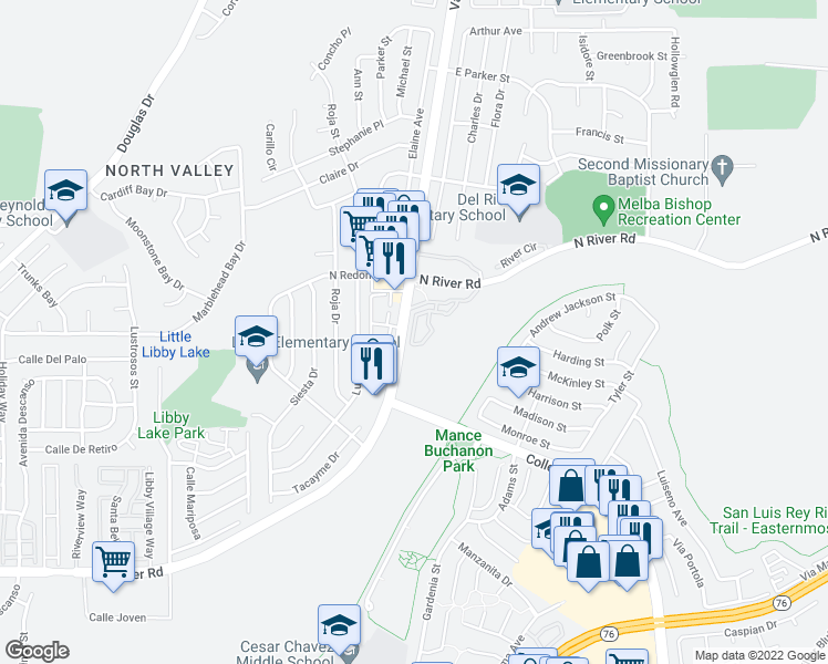 map of restaurants, bars, coffee shops, grocery stores, and more near 5084 Tranquil Way in Oceanside
