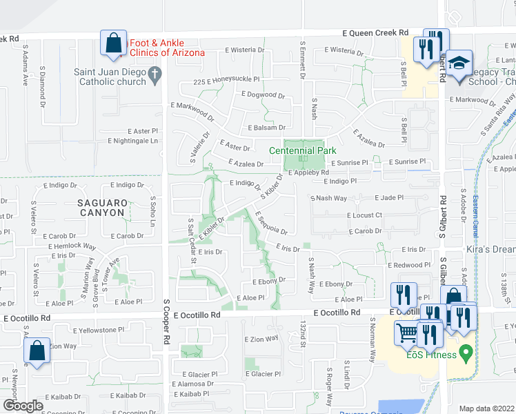 map of restaurants, bars, coffee shops, grocery stores, and more near 2360 East Locust Drive in Chandler