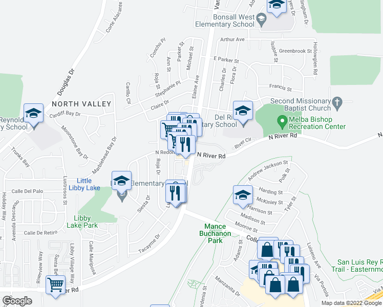 map of restaurants, bars, coffee shops, grocery stores, and more near 419 Vandegrift Boulevard in Oceanside