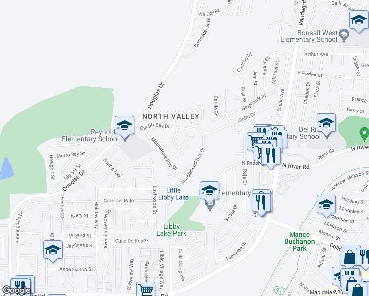map of restaurants, bars, coffee shops, grocery stores, and more near 358 Solano Bay Court in Oceanside