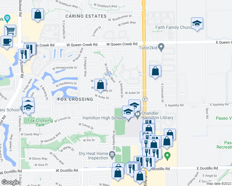 map of restaurants, bars, coffee shops, grocery stores, and more near 291 West Hackberry Drive in Chandler