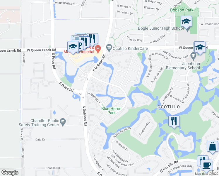 map of restaurants, bars, coffee shops, grocery stores, and more near 3320 South Waterfront Drive in Chandler