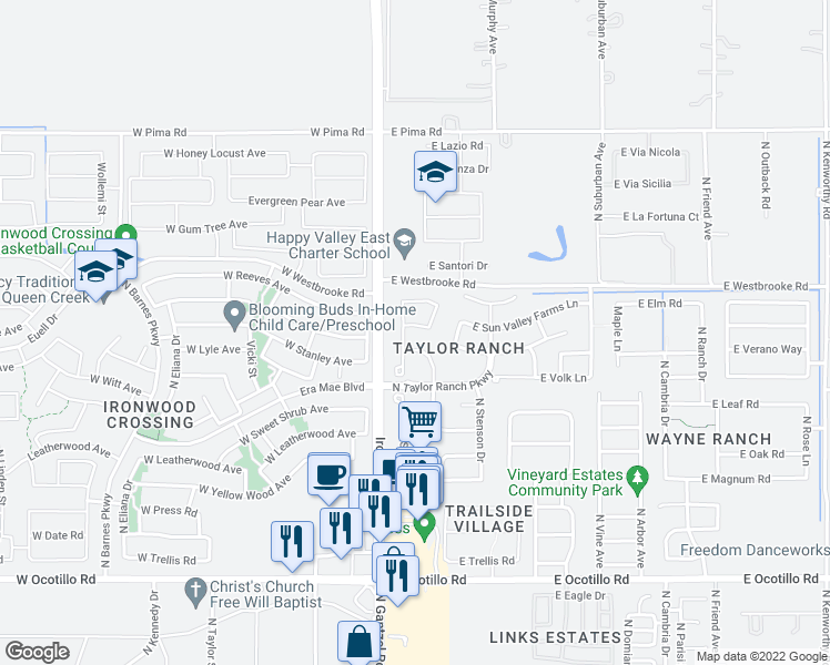 map of restaurants, bars, coffee shops, grocery stores, and more near 359 East Brook Street in Queen Creek