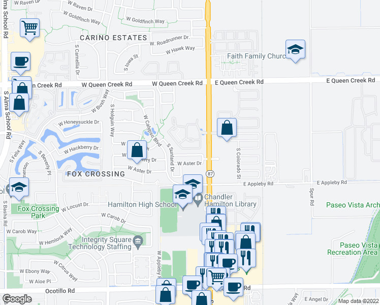 map of restaurants, bars, coffee shops, grocery stores, and more near 80 West Hackberry Drive in Chandler