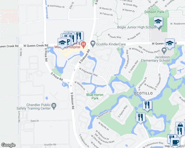 map of restaurants, bars, coffee shops, grocery stores, and more near West Edgewater Way in Chandler