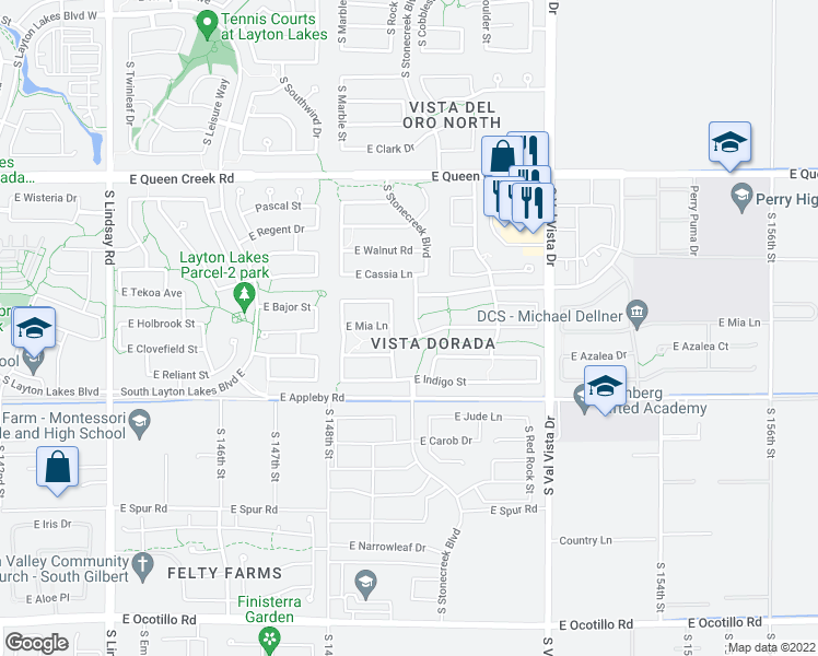 map of restaurants, bars, coffee shops, grocery stores, and more near 5076 South Stonecreek Boulevard in Gilbert