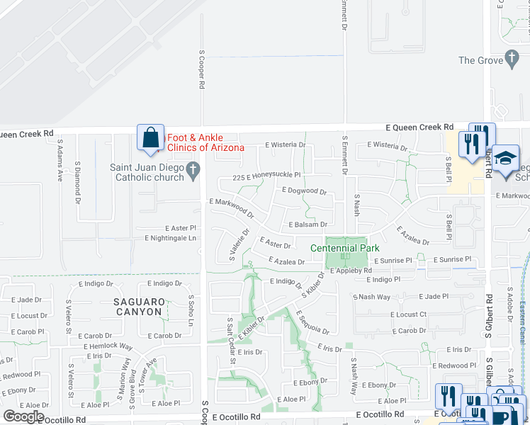 map of restaurants, bars, coffee shops, grocery stores, and more near 3933 East Desert Broom Drive in Chandler