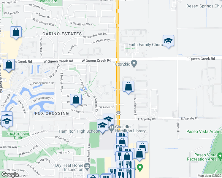 map of restaurants, bars, coffee shops, grocery stores, and more near 3250 South Arizona Avenue in Chandler
