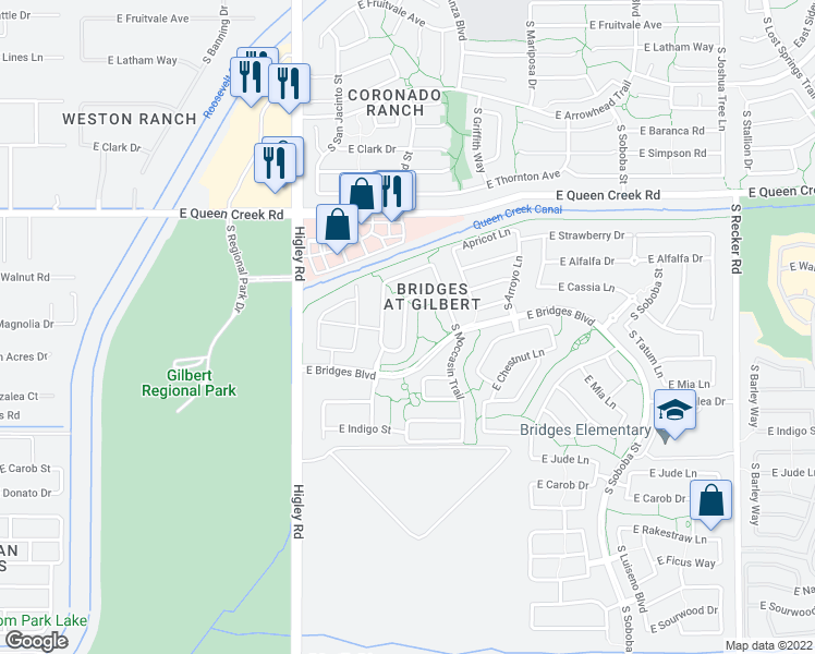 map of restaurants, bars, coffee shops, grocery stores, and more near 4997 South Girard Street in Gilbert