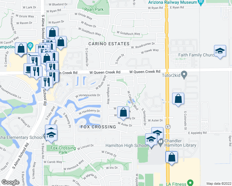 map of restaurants, bars, coffee shops, grocery stores, and more near 414 West Honeysuckle Drive in Chandler