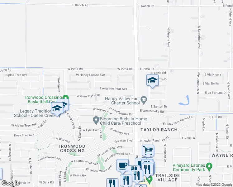 map of restaurants, bars, coffee shops, grocery stores, and more near 246 White Oak Avenue in San Tan Valley