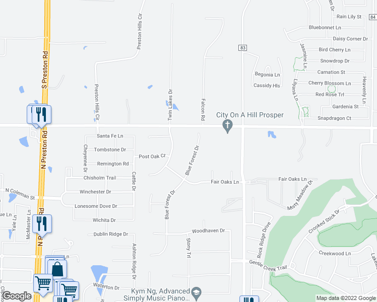 map of restaurants, bars, coffee shops, grocery stores, and more near 1821 Blue Forest Drive in Prosper