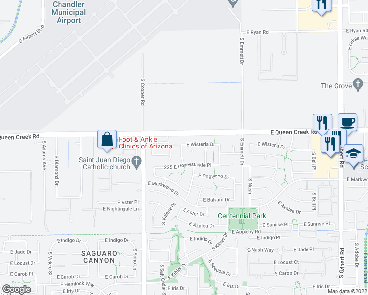 map of restaurants, bars, coffee shops, grocery stores, and more near 3102 South Cottonwood Court in Chandler