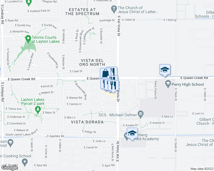map of restaurants, bars, coffee shops, grocery stores, and more near 4874 South Val Vista Drive in Gilbert