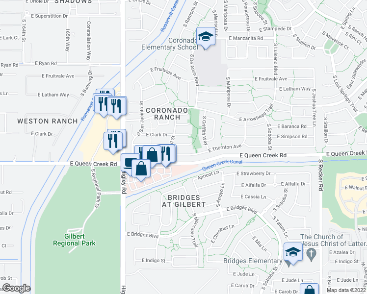 map of restaurants, bars, coffee shops, grocery stores, and more near 3445 East Mayberry Court in Gilbert