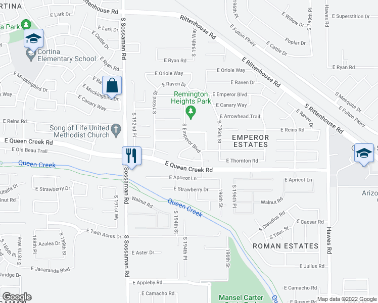 map of restaurants, bars, coffee shops, grocery stores, and more near 20239 South 194th Street in Queen Creek