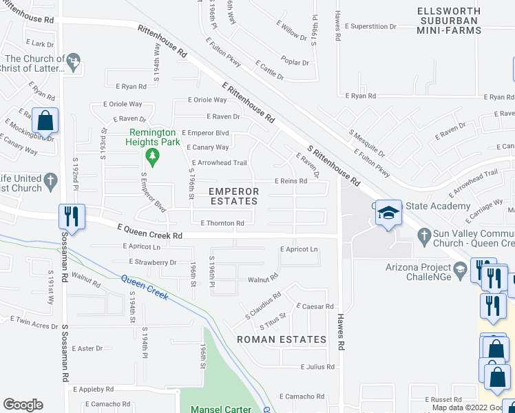 map of restaurants, bars, coffee shops, grocery stores, and more near 20235 South 198th Street in Queen Creek