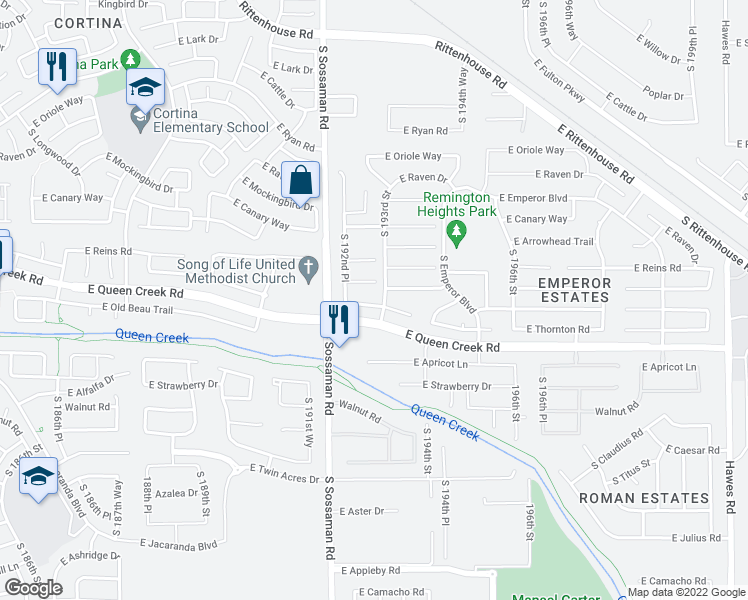 map of restaurants, bars, coffee shops, grocery stores, and more near 19286 East Thornton Road in Queen Creek