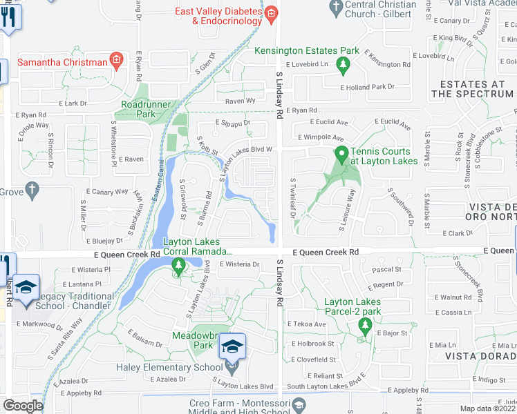 map of restaurants, bars, coffee shops, grocery stores, and more near East Harper Street in Gilbert