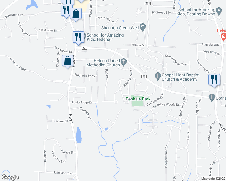 map of restaurants, bars, coffee shops, grocery stores, and more near 2715 Braelinn Parkway North in Helena