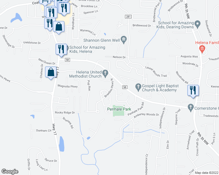 map of restaurants, bars, coffee shops, grocery stores, and more near 2735 Braelinn Parkway North in Helena