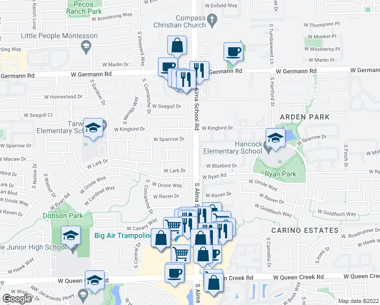 map of restaurants, bars, coffee shops, grocery stores, and more near 2391 South Karen Drive in Chandler