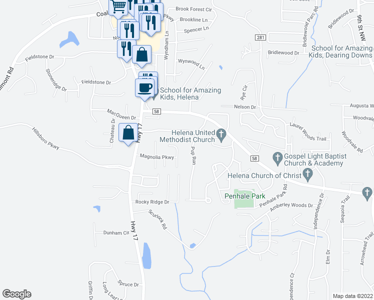 map of restaurants, bars, coffee shops, grocery stores, and more near 2215 Pup Run in Helena