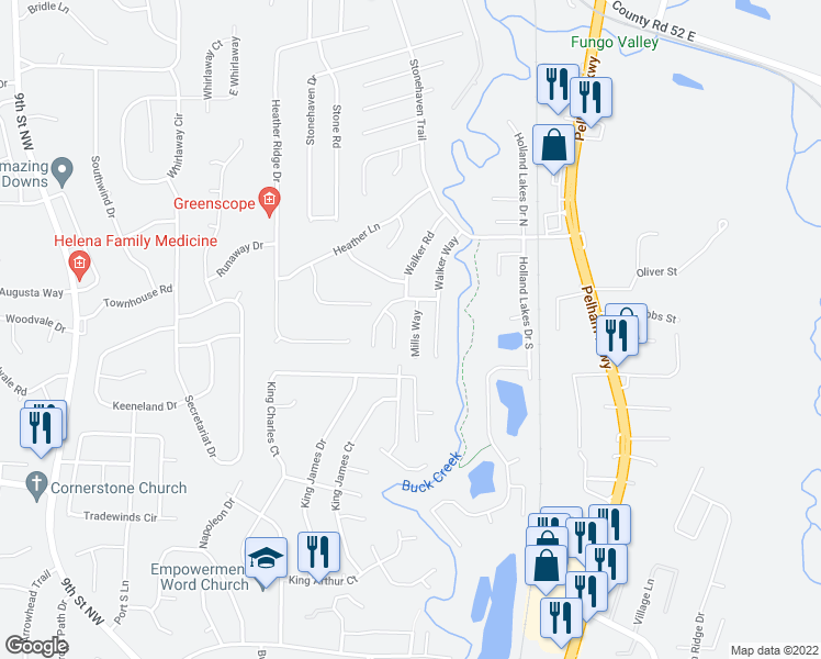 map of restaurants, bars, coffee shops, grocery stores, and more near 310 Mills Way in Pelham