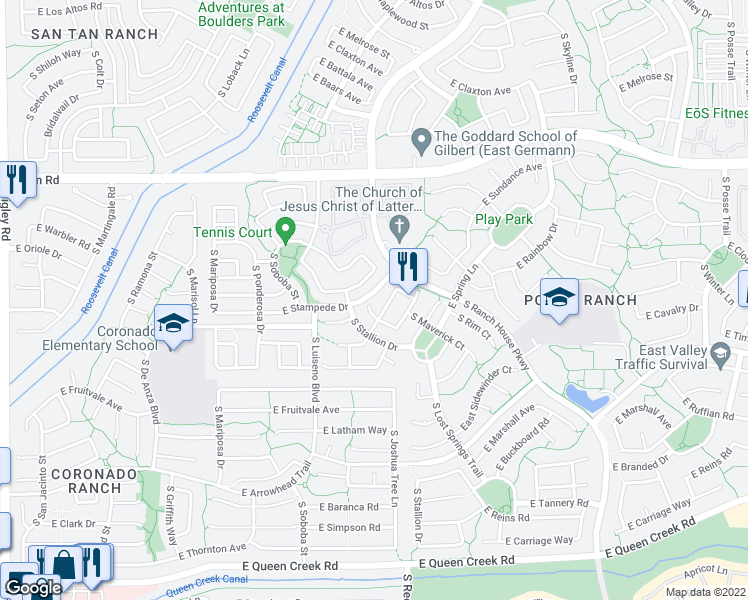 map of restaurants, bars, coffee shops, grocery stores, and more near 4269 South Woodshed Road in Gilbert
